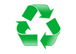 Free Stock Photo: A green recycle symbol on a white background.