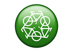 Free Stock Photo: A green recycle symbol of white bikes on a white background.