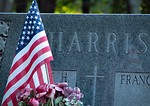 Free Stock Photo: Head stone with US flag