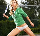 Free Stock Photo: A beautiful blonde swinging a tennis racquet