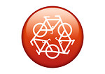Free Stock Photo: A red recycling symbol of bicycles on a white background