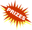 Free Stock Photo: Illustration of a red and yellow burst with prize text