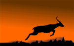 Free Stock Photo: Illustration of a jumping deer or antelope silhouette.