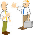 Free Stock Photo: Illustration of two cartoon business men greeting each other