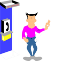 Free Stock Photo: Illustration of a sad cartoon man at a pay phone