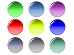 Free Stock Photo: Blank round buttons of various colors.