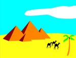 Free Stock Photo: Illustration of pyramids in the desert with camels