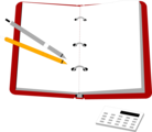 Free Stock Photo: Illustration of an organizer with pens and a calculator.