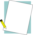 Free Stock Photo: Illustration of a blank paper frame with a pencil.