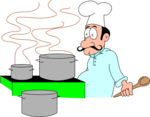 Free Stock Photo: Illustration of a cartoon chef with cooking pots