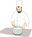 Free Stock Photo: Illustration of a chef stirring a pot