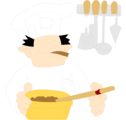 Free Stock Photo: Illustration of a chef stirring a bowl smoking a cigar
