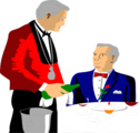 Free Stock Photo: Illustration of a waiter pouring a drink for a customer