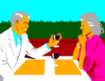 Free Stock Photo: Illustration of an older couple having a romantic dinner