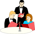 Free Stock Photo: Illustration of a waiter serving a couple at a fancy dinner