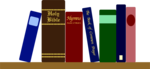 Free Stock Photo: Illustration of books and a bible on a shelf.