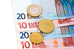 Free Stock Photo: Euro bills and coins