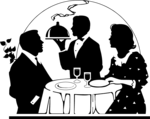 Free Stock Photo: Illustration of a couple being served a romantic dinner