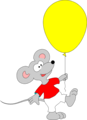 Free Stock Photo: Illustration of a mouse with a yellow balloon.
