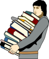 Free Stock Photo: Illustration of a young man carrying a stack of books