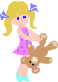 Free Stock Photo: Illustration of a young girl with a teddy bear