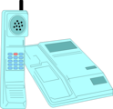 Free Stock Photo: Illustration of a blue cordless telephone