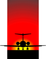Free Stock Photo: Illustration of a silhouette of an airplane in the sunset.