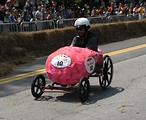 Free Stock Photo: A pink race car at the 2009 Red Bull Soap Box Derby in Atlanta, Georgia