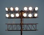 Free Stock Photo: Large floodlights on a pole.