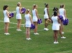 Free Stock Photo: A group of cheerleaders on a football field
