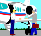Free Stock Photo: Illustration of a corporate jet pilot greeting a business man
