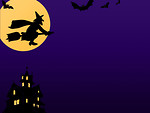 Free Stock Photo: A Halloween background with a witch, bats and a haunted house