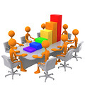 Free Stock Photo: 3D bar graph meeting.