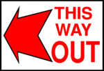 Free Stock Photo: Illustration of an exit sign with a red arrow