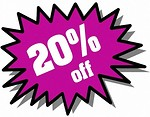 Free Stock Photo: Purple 20 percent off stickers