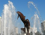 Free Stock Photo: The dolphin fountain at Bayfront Park in Sarasota, Florida.