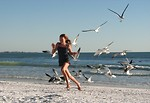 Free Stock Photo: A young girl running from a flock of sea gulls